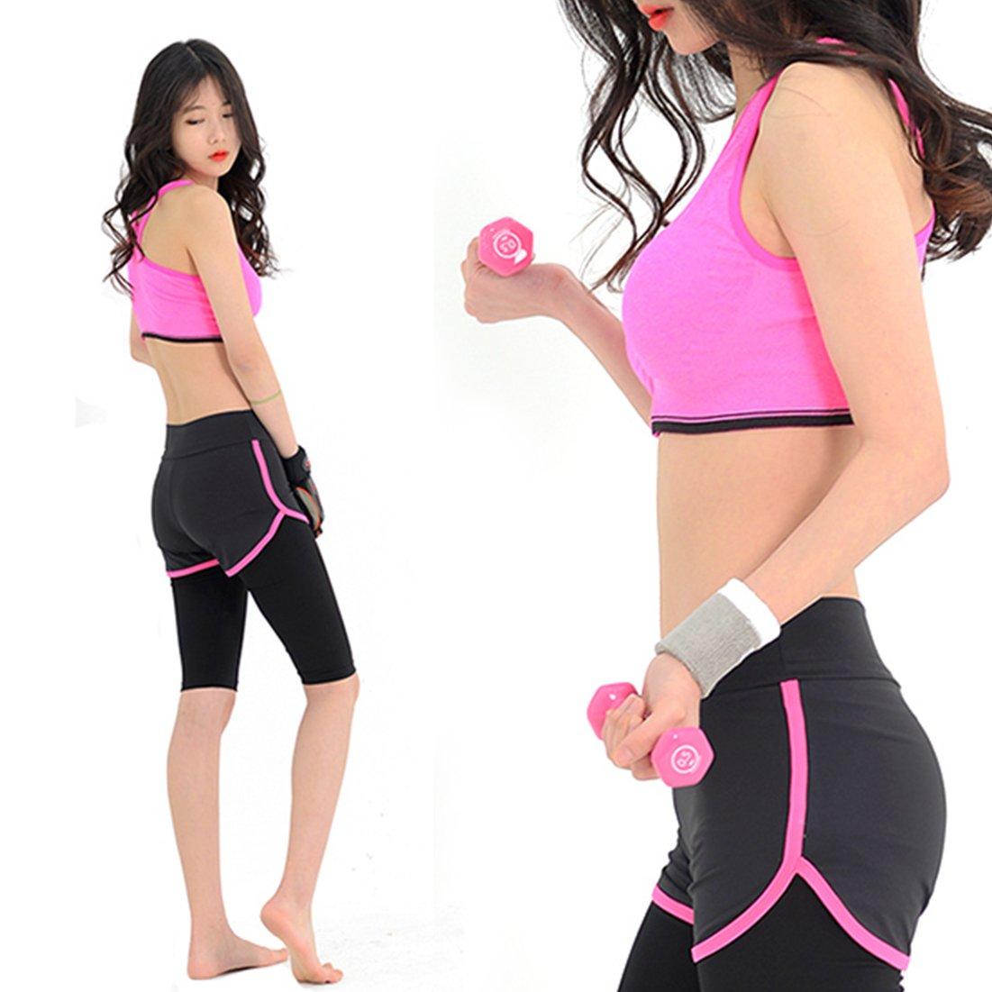 HARRA Sports Yoga Suit, Women's 2 Piece Activewear Set, Running Suit Gym Outfit Workout Wear, Fitness Training Set (L)