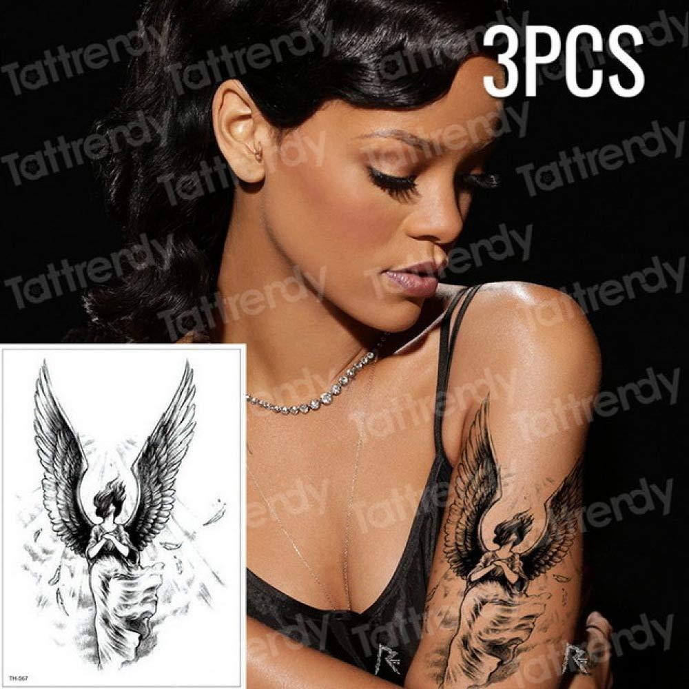 Handaxian 3 Piezas boceto Tatuaje patrón Mujer niña Tatuaje Negro ...