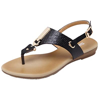 Ouneed® Damen Sandalen , Damen Sommer Metall Dekoration Gürtelschnalle Strap Flip Beach Wedge Sandalen Strand Schuhe (37, Schwarz)