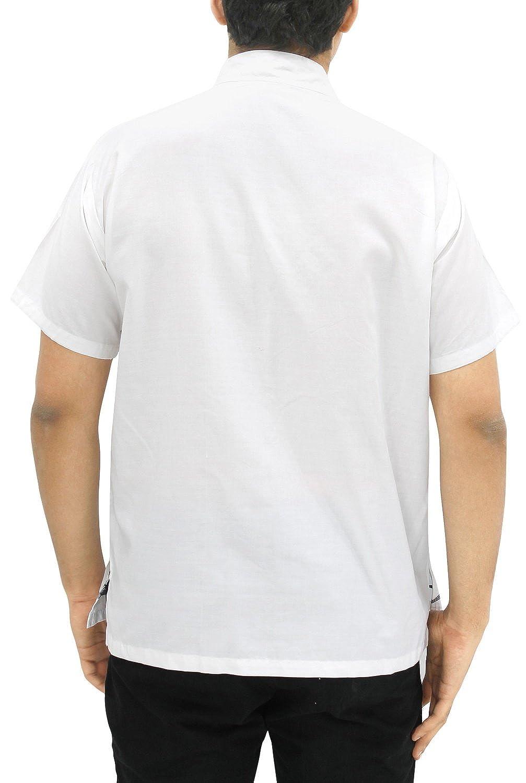 LA LEELA Shirt Casual Button Down Short Sleeve Beach Shirt Men Embroidered 176