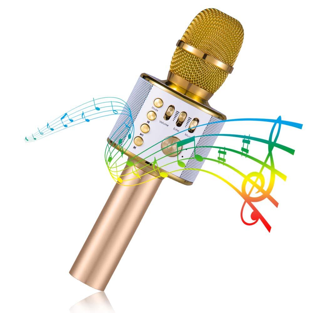Bluetooth Karaoke Mikrofon, Tragbare Drahtlose Mikrofon mit Lautsprecher, 4 in 1 Kabellos Mikrofon, Portable Handmikrofon für Musik spielen KTV,Party KEY NICE