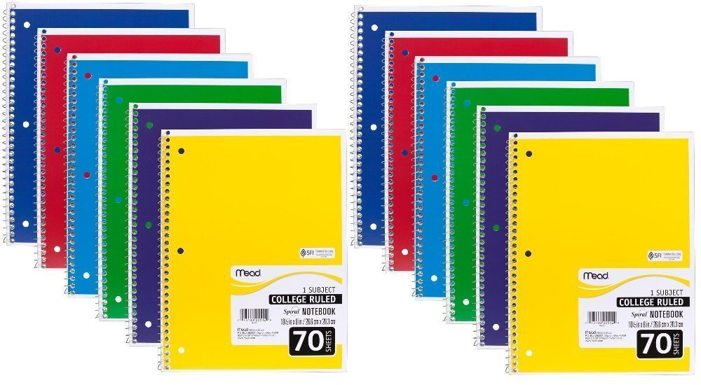 Mead Spiral Notebook, College Ruled, 1 Subject, 70 Sheets, 7.5'' x 10.5'', 12 Pack, Assorted Colors (05512-12)