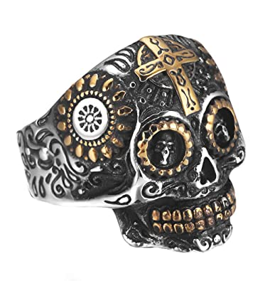 REVOLIA Stainless Steel Rings for Men Skull Punk Rings Cross Vintage Size 7-14