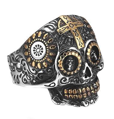 REVOLIA Stainless Steel Rings for Men Skull Punk Rings Cross Vintage Size 7-14