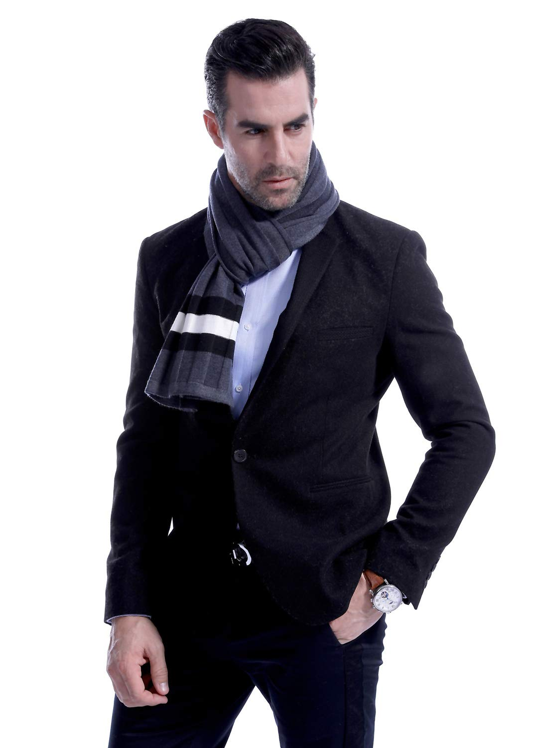 Men Plain Thermal Scarf Knitted Striped Winter Scarves One Size Leisure Business Men Warm Neckerchief Gray by Panegy (Image #4)