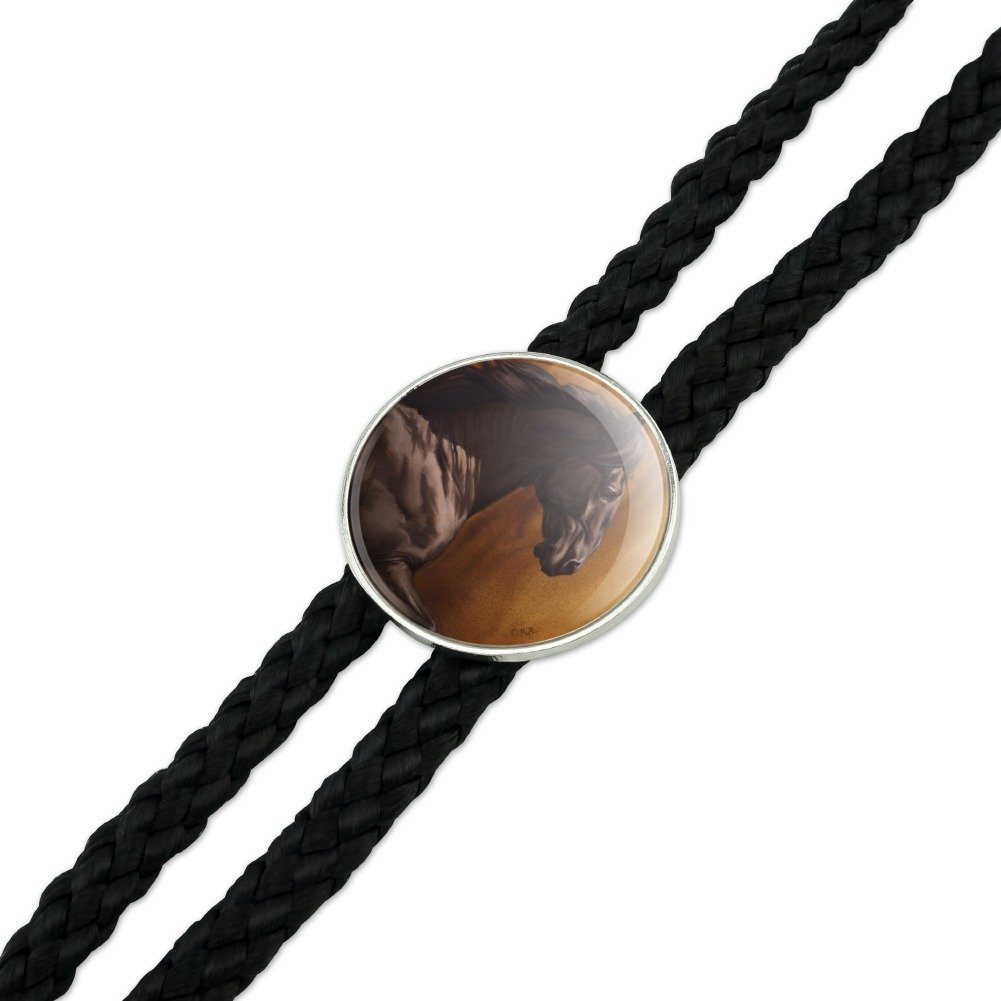 Black Horse Racing Western Southwest Cowboy Necktie Bow Bolo Tie