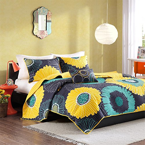 Mi-Zone Alice Full/Queen Girls Quilt Bedding Set - Yellow, Navy, Teal, Floral - 4 Piece Teen Girl Bedding Quilt Coverlets - Ultra Soft Microfiber with 100% Cotton Filling Bed Quilts Quilted Coverlet