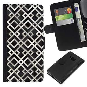 HTC One M7 Modelo colorido cuero carpeta tirón caso cubierta piel Holster Funda protección - Pattern White Black Vintage Wallpaper