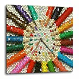 Sandy Mertens Color Designs – Colored Pencils in Stained Glass – 10×10 Wall Clock (dpp_14272_1) For Sale