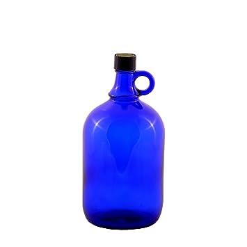 1 x 2 litros Globo de cristal botella en azul galón/flor de la Vida
