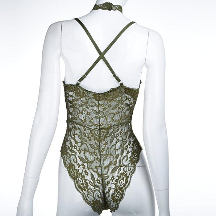 ... Disheen Sheer Lace Choker Neck Bodysuit 55d991a7f