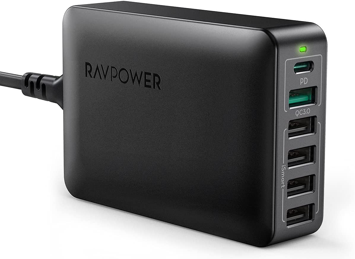 USB C Charger, RAVPower 60W 6-Port Desktop USB Charging Station with 30W Power Delivery, 18W QC3.0, iSmart Multiple Port for MacBook Air, iPhone 12 11 Pro Max XS X, iPad Pro Air Mini, Galaxy S20 S20+