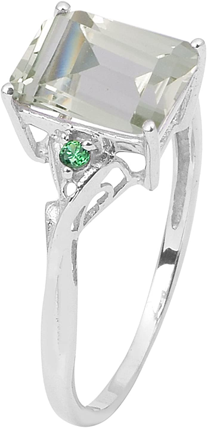 Shine Jewel Green Amethyst with Green Cubic Zirconia Stone 925 Sterling Silver Solitaire Women Gift Ring