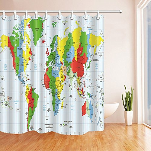 (HiSoho Educate Children Decor, Detailed World Map Standard Time Zones for Kids, Polyester Fabric Waterproof Shower Curtains, 71X71 in, Shower Curtain Hooks Included, Green)