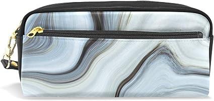 Estuche para lápices, color gris con textura abstracta, con compartimentos para la escuela, estudiante, bolsa de cosméticos de cuero: Amazon.es: Oficina y papelería