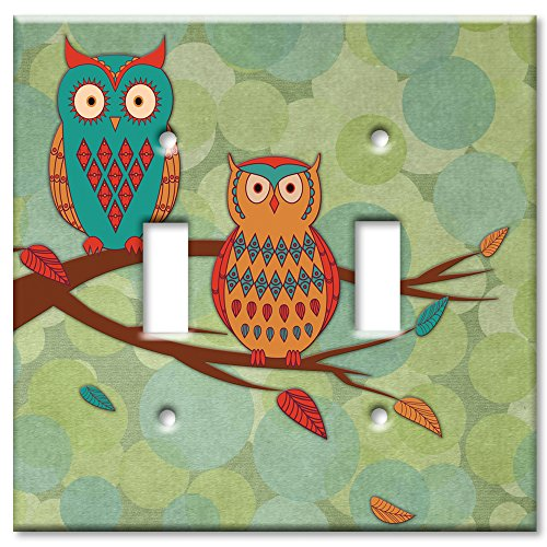 2 Double Light Switchplate - Art Plates brand - Double Gang Toggle Switch / Wall Plate - Whimsical Owls