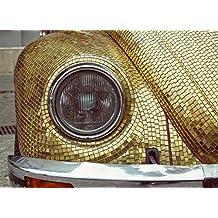 LAMINATED 33x24 Poster: Headlights Volkswagen Beetle Volkswagen Bag German Car Two-Door Retro Economy Car Golden Mosaic Decor Decoration Design Exterior Vintage Ornament Iasi Romania