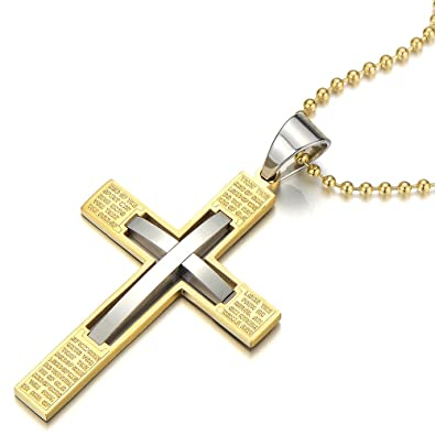 23.6 inches Steel Ball Chain Silver Black COOLSTEELANDBEYOND Stainless Steel Gothic Skull Cross Pendant Necklace