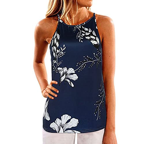 SVALIY Women Crew Neck Floral Sleeveless Casual Tops Tanks Camis T-shirt Blouse