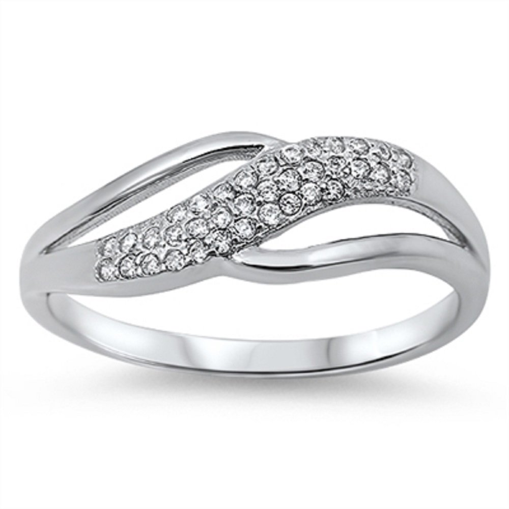 CloseoutWarehouse Swirl Abstract Cubic Zirconia Ring Sterling Silver Size 9