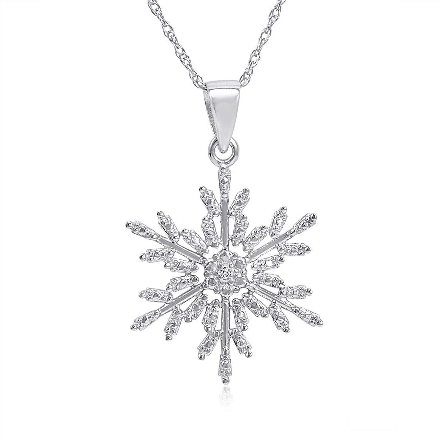 amazon com diamond accent snowflake pendant necklace in sterling