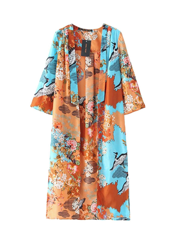 SaiDeng Damen Anzug Kragen Crane Printed Kimono-Stil Weibliche Robe