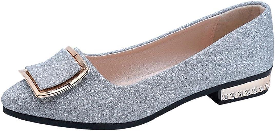 Zapatos de Vestir para Mujer Otoño 2018 PAOLIAN Calzado de Dama de Fiesta con Tacón Ancho Cómodos Boda Moda Calzado de Trabajo Planos Bajos Lentejuelas Zapatos con Punta