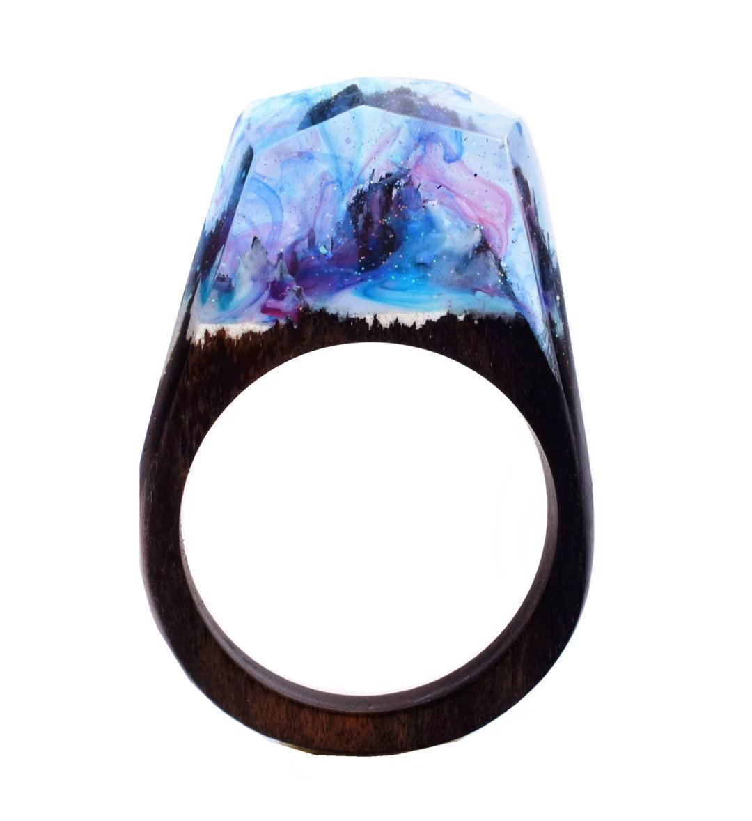 Heyou Love Handmade Wood Resin Ring With Secret Sky Landscape Inside Jewelry