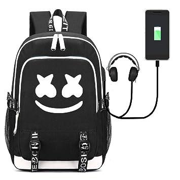 Mochila Escolar Marshmello DJ, Mochilas Infantiles para Chicas Estudiantes Marshmello Logo Backpack Bolso Portátil Viaje con USB Puerto (Black): Amazon.es: ...