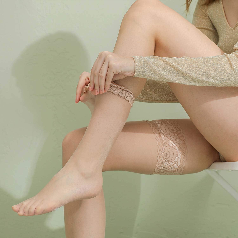 ElsaYX Transparente Halterlose Str/ümpfe Damen Spitzen Str/ümpfe Halterlos-Schwarz Beige