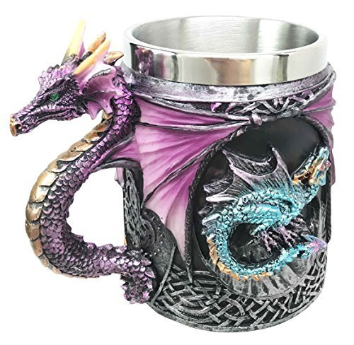 Myths And Legends The Conception Of Blue Fire Beowulf Purple Dragon Beer Stein Tankard Coffee Cup Mug Great Gift For Dragon Lovers Party Hosting Centerpiece Fantasy Movie Drink Companion