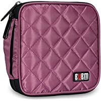 BUBM Padded 32 Capacity CD DVD Carrying Wallet (Purple)