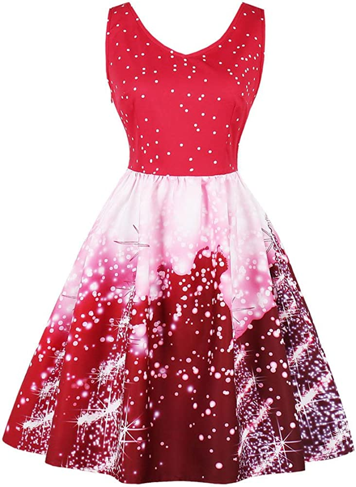 iNoDoZ Plus Size Sleeveless Womens Santa Christmas Party Dress Vintage Xmas Swing Skater Dress