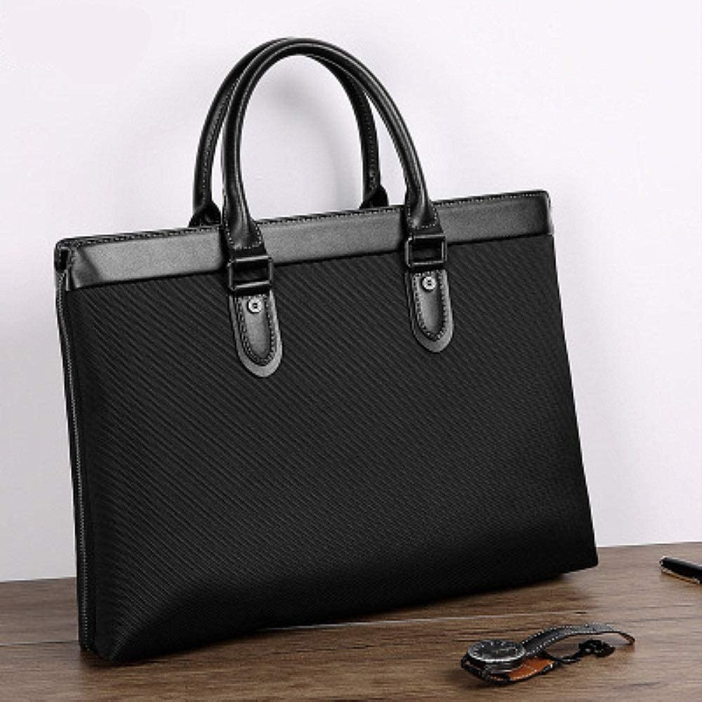 XUROM Briefcase Bag Briefcase for Men Business Tote 14 Laptop Attache Case Leather Laptop Bag Large Office Work School Bag Color : Black, Size : Free Size