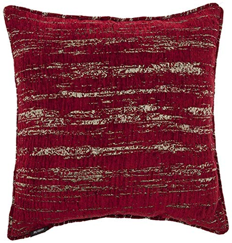 McAlister Textiles Textured Chenille | Pillow Cover in Red | Square 24x24 Inches | Metallic Linen Decorative Throw Cushion Sham | Modern Couch & Bed Accent, Rustic Decor