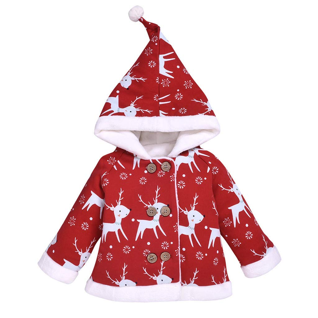 Lataw Kids Coat Boys Girls Baby Long Sleeve Winter Warm Jacket Deer Christmas Cartoon Padded Hooded Cute Pullover Outwear by Lataw