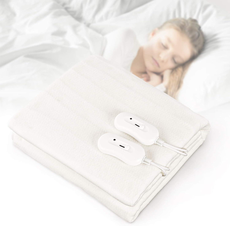 Todeco - Cubrecolchón térmico térmico para cama de 2 plazas con 3 niveles de temperatura, protección contra sobrecalentamiento, 160 x 140 cm, color blanco
