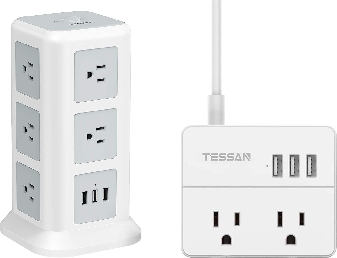 TESSAN Surge Protector Power Strip Tower and Small Extension Cord, Flat Plug Desktop Charging Station with Widely Spaced Outlets and 3 USB Charger for Home, Office
