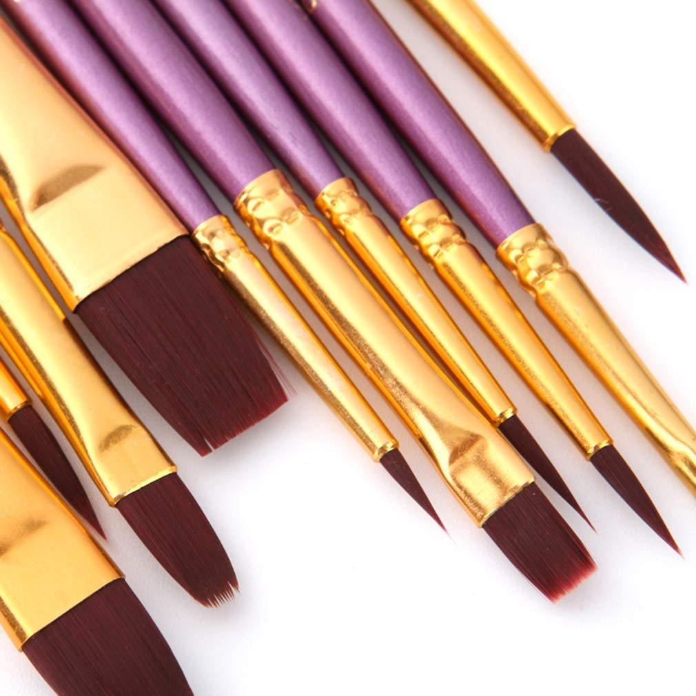 per acquerelli punta rotonda Hengxing 10 pennelli professionali in nylon pittura a olio