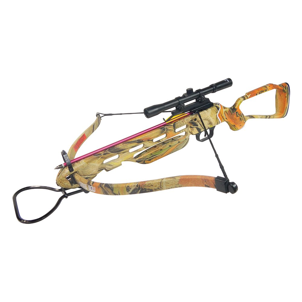150 lb Autumn Camouflage Hunting Crossbow Aluminum Stock +4x20 Scope + 7 Bolts/Arrows + Rope Cocking Device 180 175 80