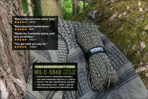 TITAN WarriorCord | WOODLAND FOREST-CAMO | 103 CONTINUOUS FEET | Exceeds Authentic MIL-C-5040, Type III 550 Paracord Standards. 7 Strand, 5/32'' (4mm) Diameter, Military Parachute Cord. by Titan Paracord (Image #3)