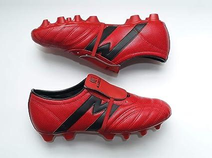 e6971e5bf Manríquez Tacos Fútbol Soccer Mid SX Plus Rojo Negro 100% Piel (Rojo xon  Negro