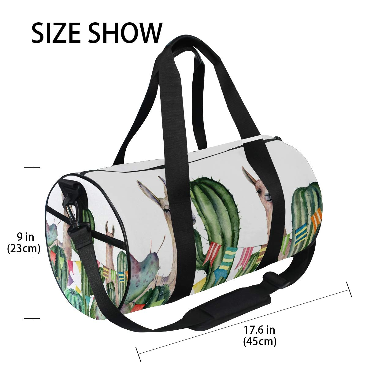 WIHVE Gym Duffel Bag Watercolor Llamas Cactus Bushes Sports Lightweight Canvas Travel Luggage Bag