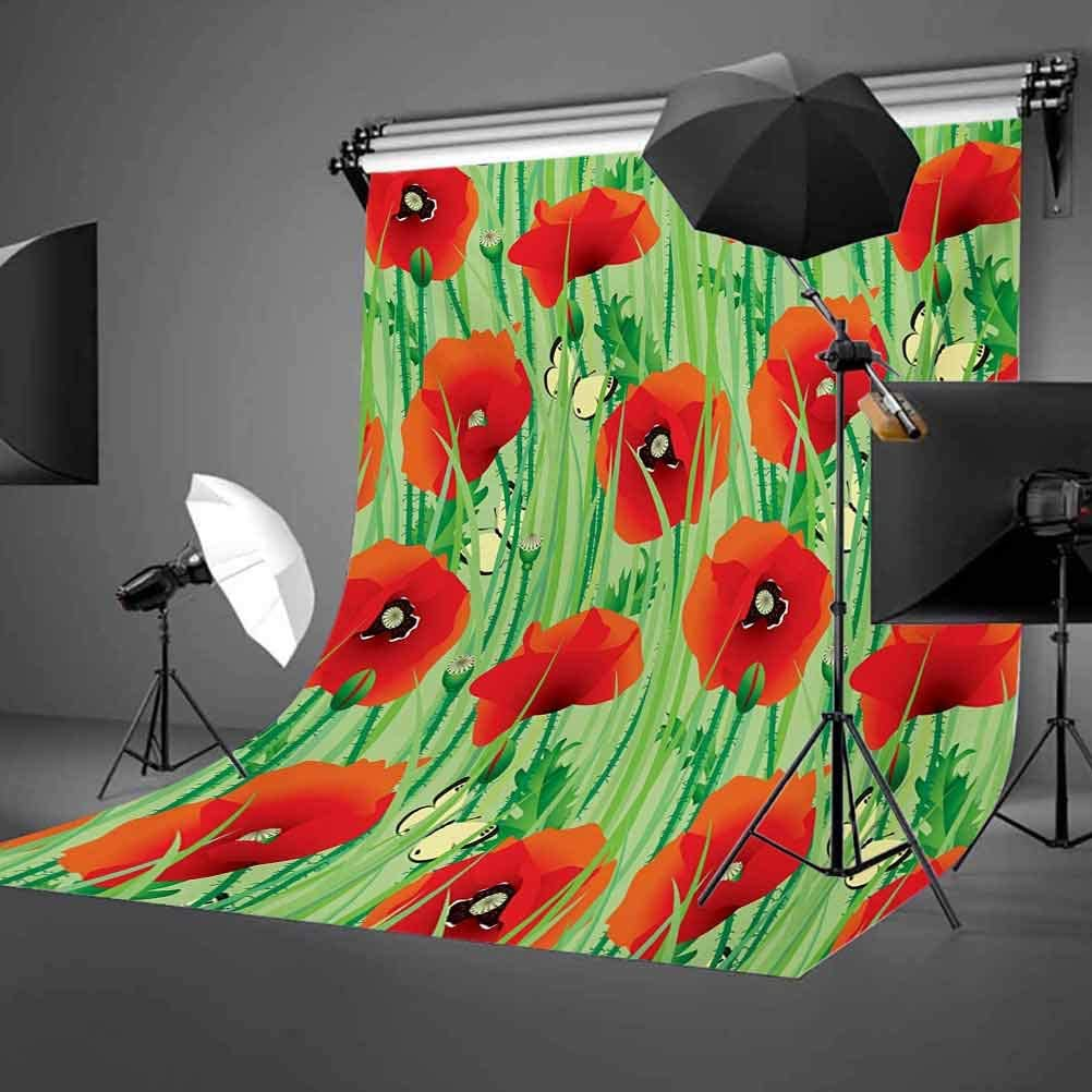 6.5x10 FT Backdrop Photographers,Scarlet Poppy Flowers Field with Butterflies Inspirational Wild Herbs Design Background for Baby Shower Birthday Wedding Bridal Shower Party Decoration Photo Studio