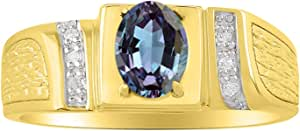 RYLOS Mens Classic Oval Gemstone & Genuine Sparkling Diamond Ring in 14K Yellow Gold Plated Silver .925-8X6MM Color Stone Birthstone Rings