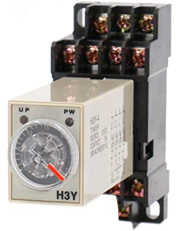 Heschen Timer Delay Relay H3Y-4 220 VAC 0-30 Second 250VAC 5A 14Pin terminal 4PDT with DYF14 35mm DIN Rail Socket Base