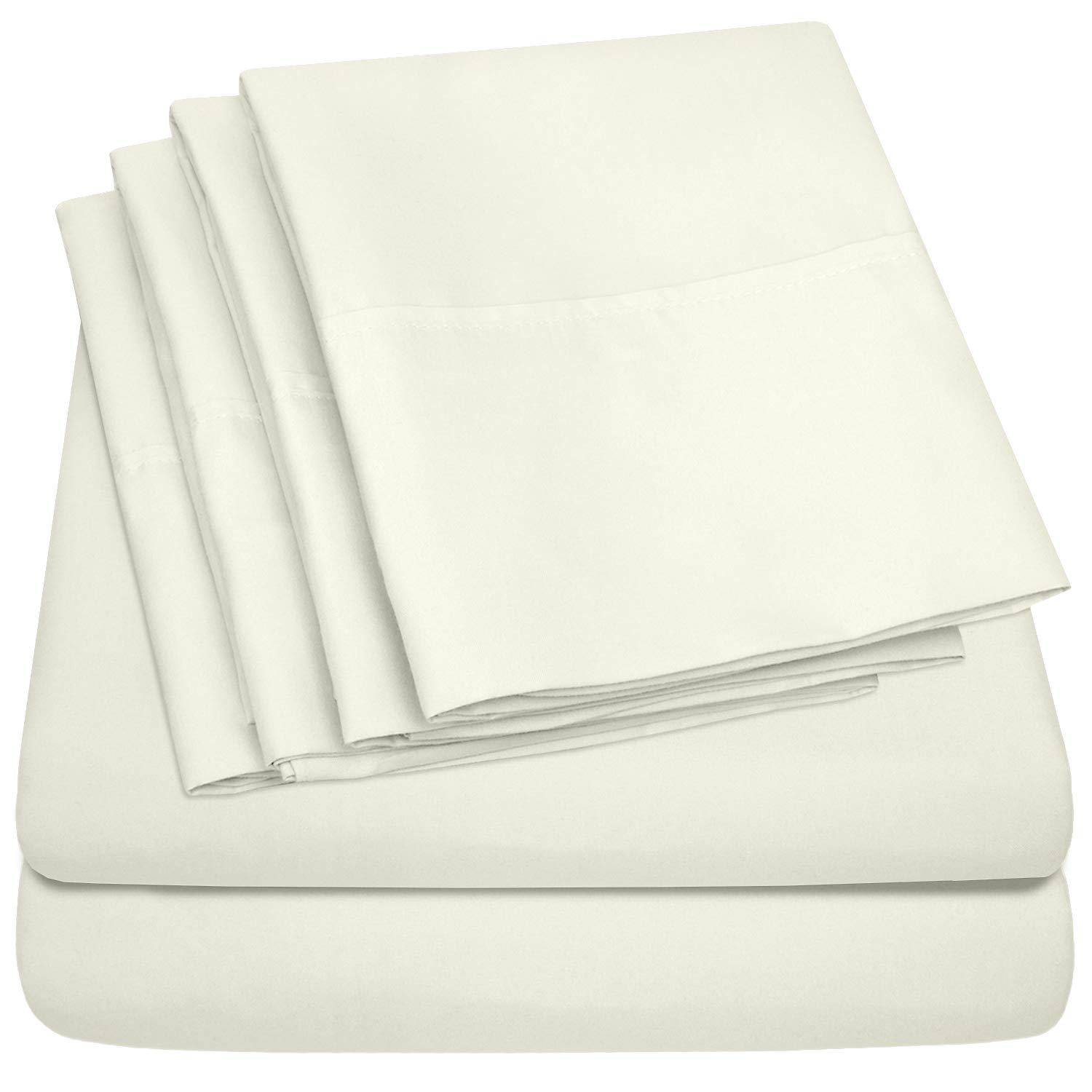 King Size Bed Sheets - 6 Piece 1500 Thread Count Fine Brushed Microfiber Deep Pocket King Sheet Set Bedding - 2 Extra Pillow Cases, Great Value, King, ivory by Sweet Home Collection