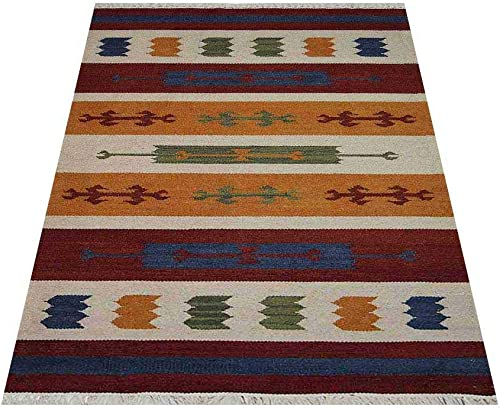 Rugsotic Carpets Hand Woven Flat Weave Kilim Wool 6'x9' Area Rug Contemporary Multicolor D00112
