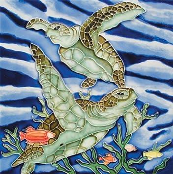 Sea Turtles – Decorative Ceramic Art Tile – 8 x8 En Vogue