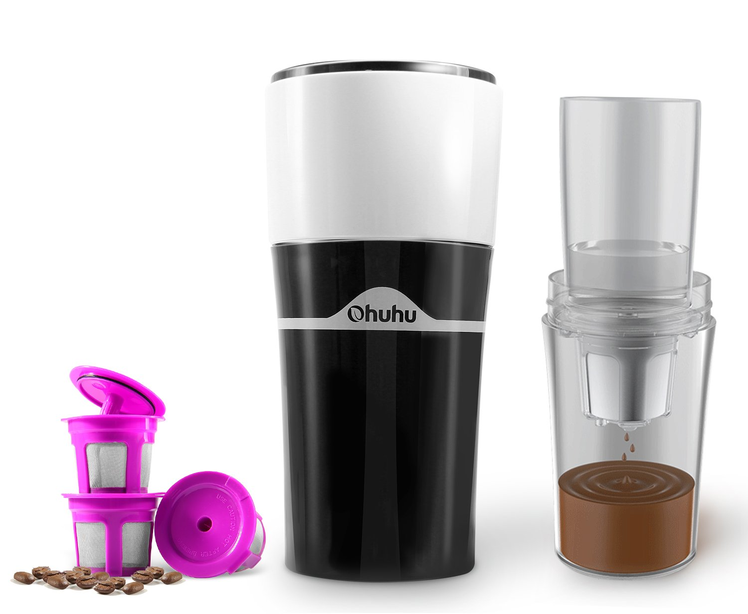 Coffee Dripper, Ohuhu 2-In-1 Portable Drip Coffee Brewer and Travel Mug, Compatible with K CUP Capsules & Ground Coffee Pour Over Coffee Brewer